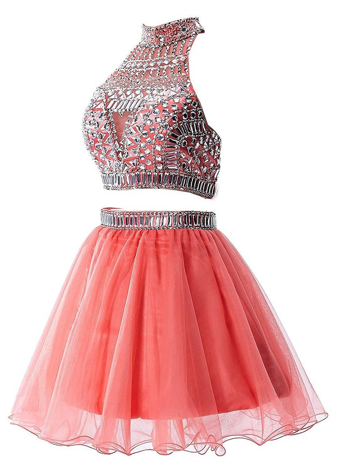 Amazing US Women's Short Tulle Prom Dress Beaded Two Piece ...
