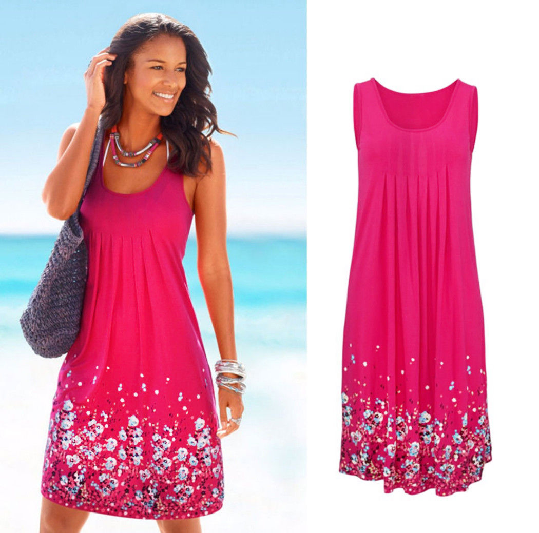 b026cefcd955 Womens Floral Sundress Midi Length Summer Evening Cocktail Party Beach Dress  DK4