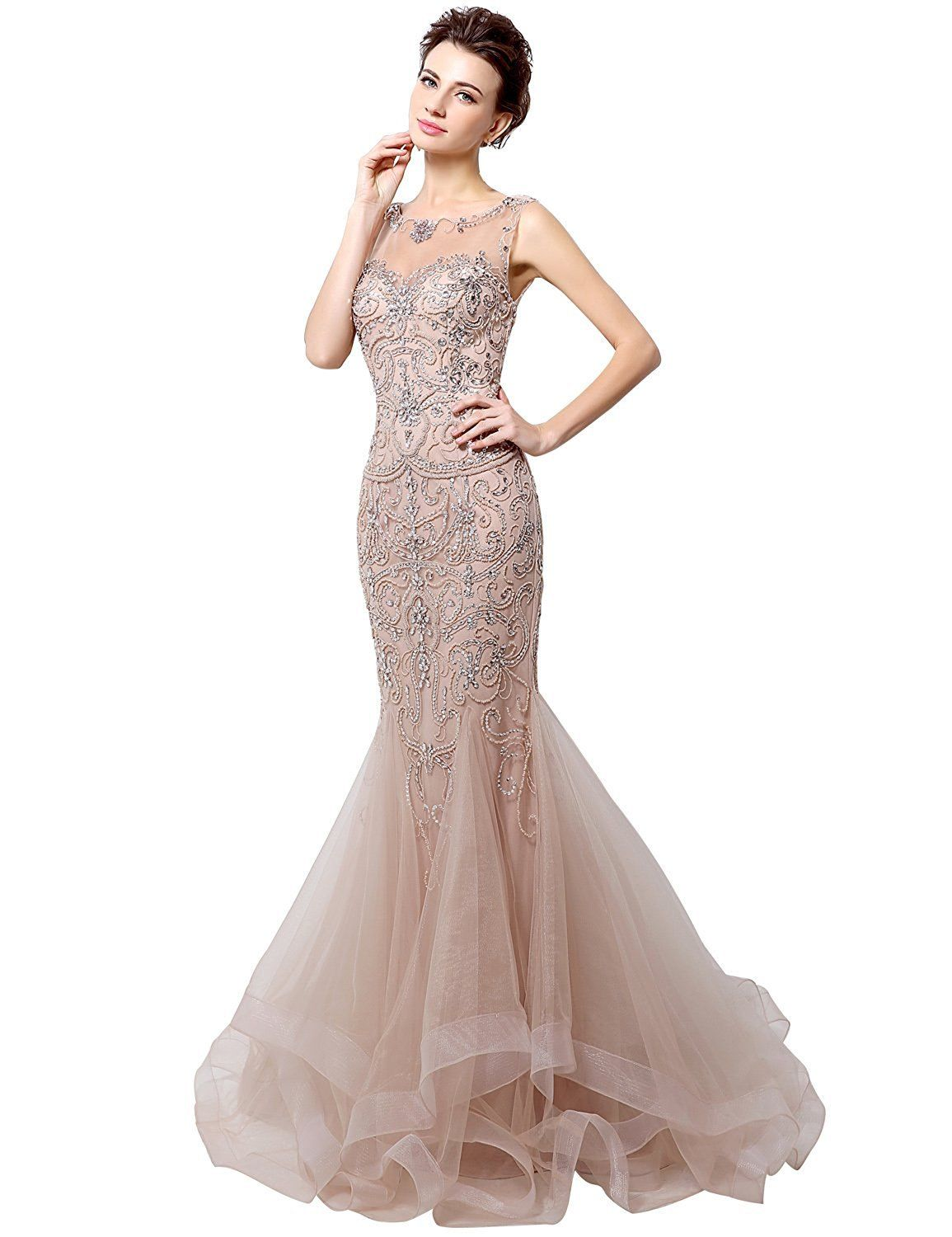 Awesome US Womens Sheer Bodice Mermaid Coral Prom Dress ...