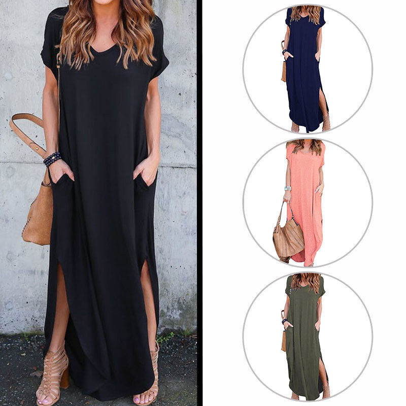 Awesome Us Women Casual T Shirt Long Maxi Dress Split