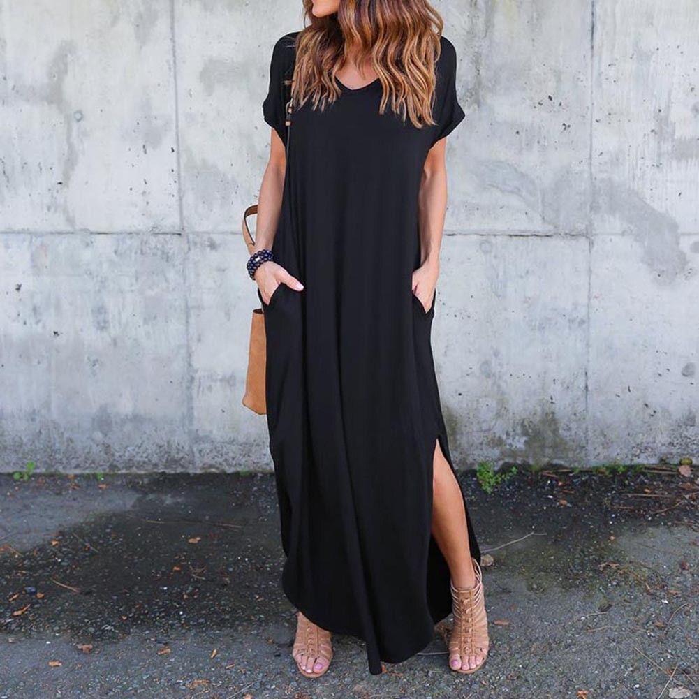 Awesome Us Women Casual T Shirt Long Maxi Dress Split