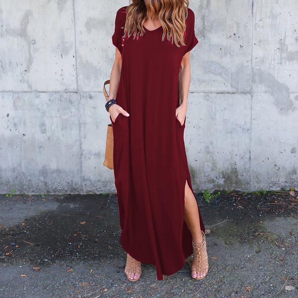 Awesome US Women Casual T-Shirt Long Maxi Dress Split ...