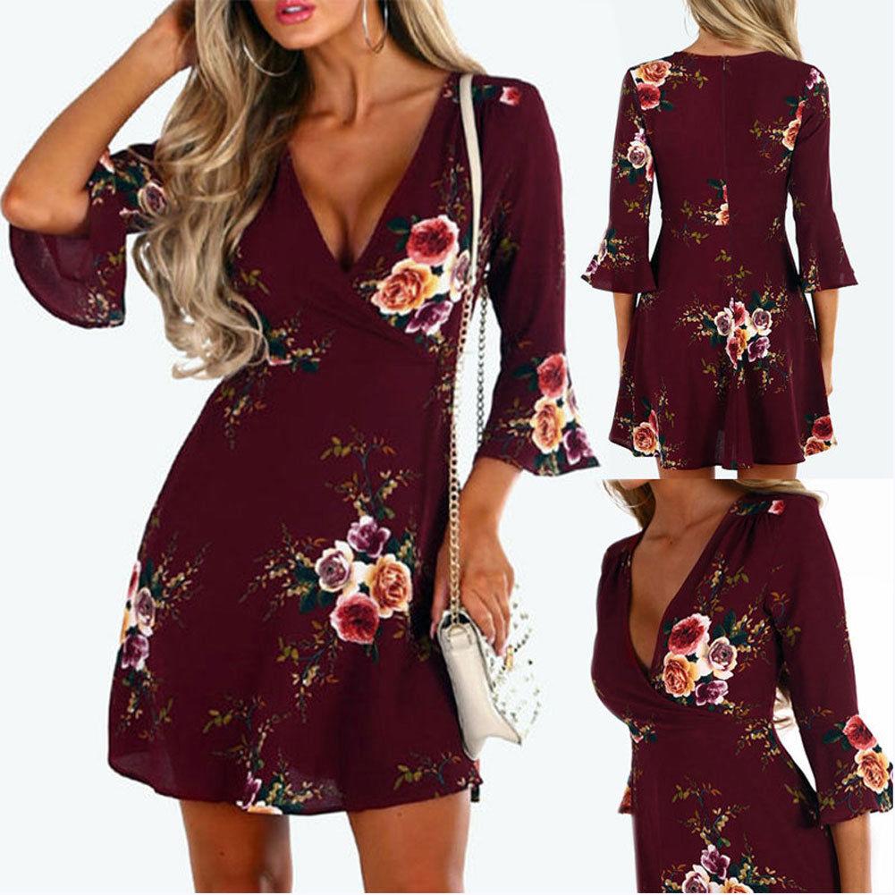 df4069452fe5 Women Summer Boho Short Maxi Dress Evening Cocktail Party Beach Dress  Sundress