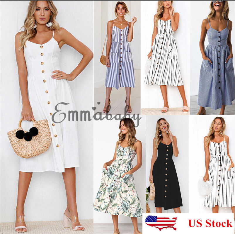 754f347caa2b Women s Summer Boho Casual Long Maxi Evening Party Cocktail Beach Dress  Sundress