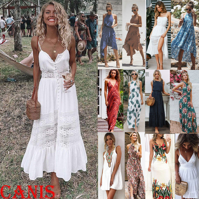 3d06a76430c6 Summer Womens Boho Maxi Dress Lady Evening Cocktail Party Beach Dress  Sundress