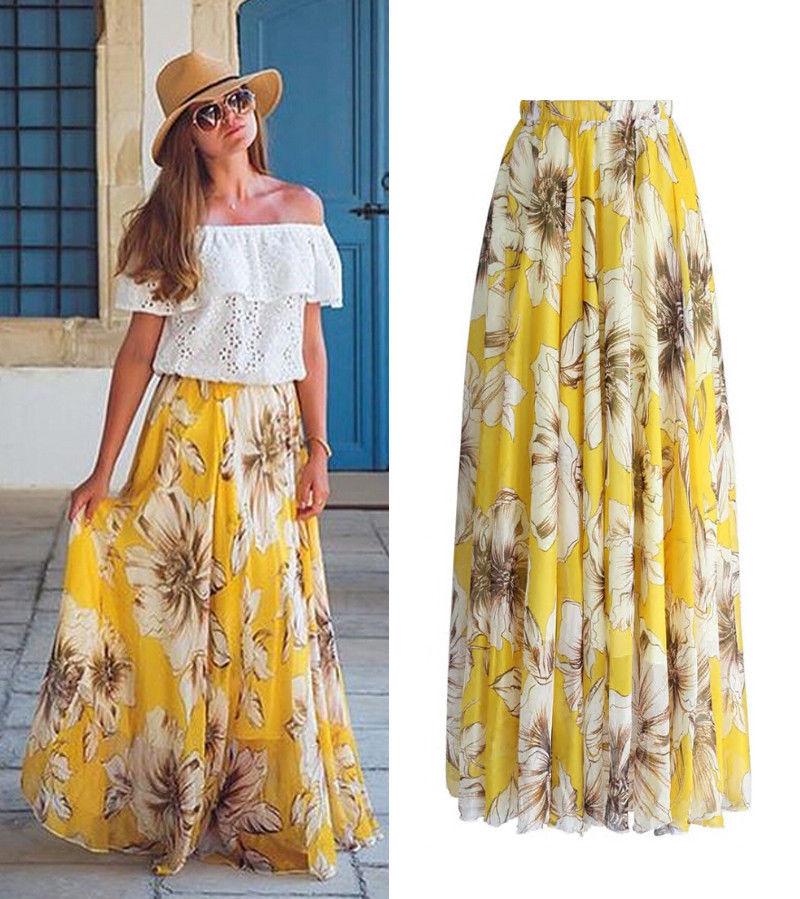 Awesome Usa Chiffon Boho Womens Floral Jersey Gypsy Long