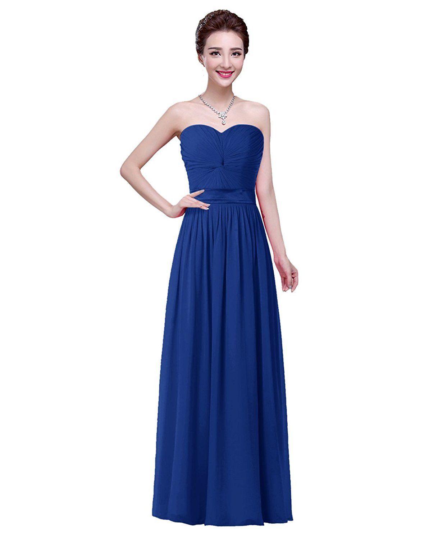 Great Women\'s Formal Sweetheart Bridesmaid Chiffon Prom Dress Long ...