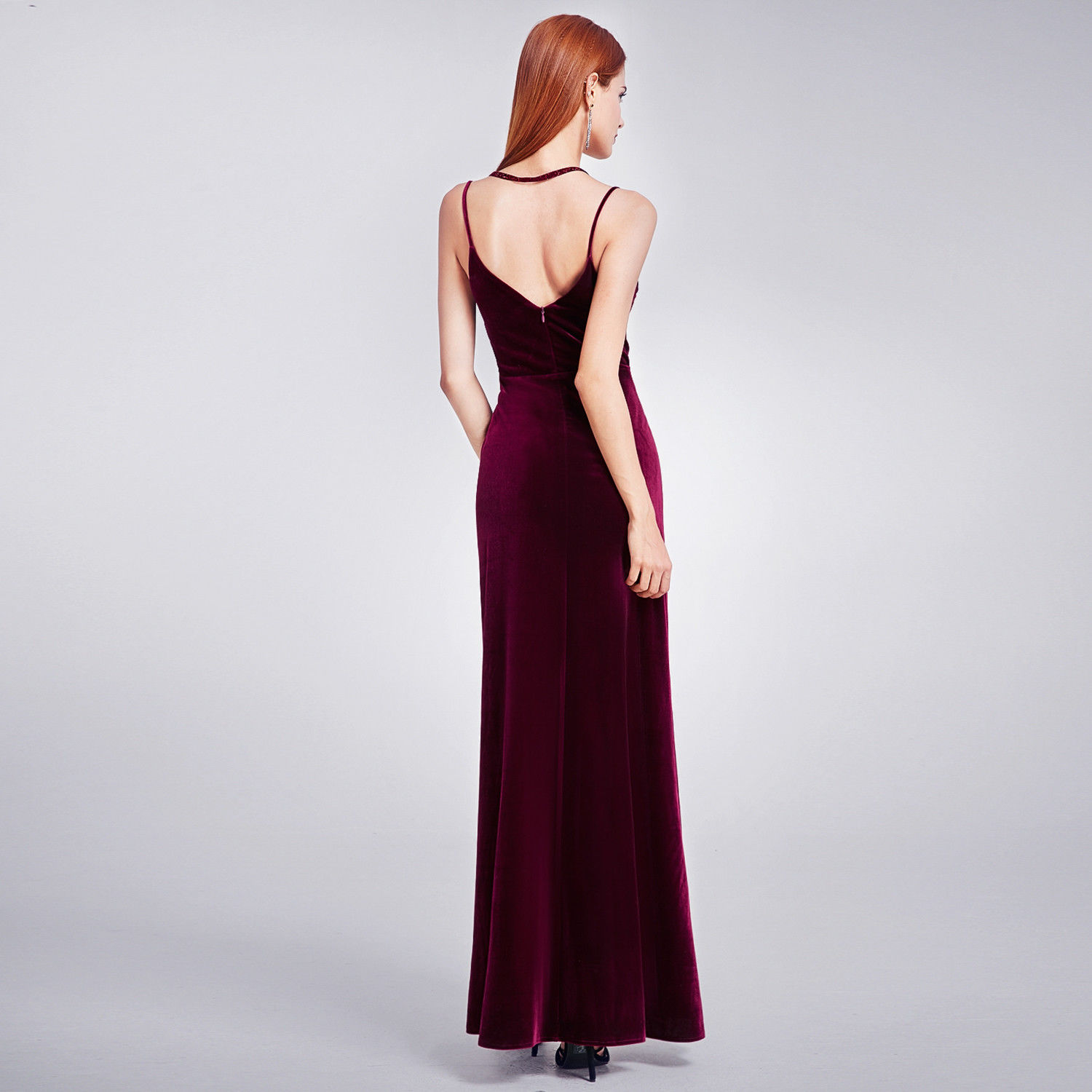 Wedding Dresses: Awesome Long Velvet Gown Slit V-Neck Prom Dress 07181