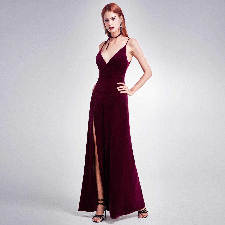 Awesome Long Velvet Gown Slit V Neck Prom Dress 07181