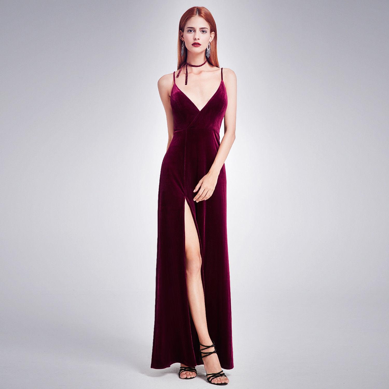 Awesome Long Velvet Gown Slit V-Neck Prom Dress 07181