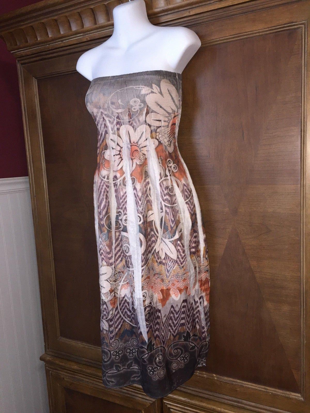 7e7d724f494 Cool One Size S M L Lapis Strapless Dress Below Knee Floral Sundress Empire  Waist 2019