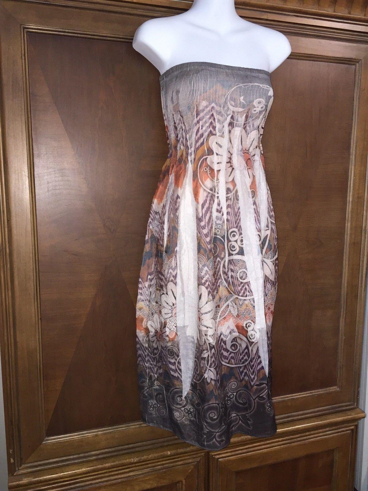 f1e91c3a3ff One Size S M L Lapis Strapless Dress Below Knee Floral Sundress Empire Waist