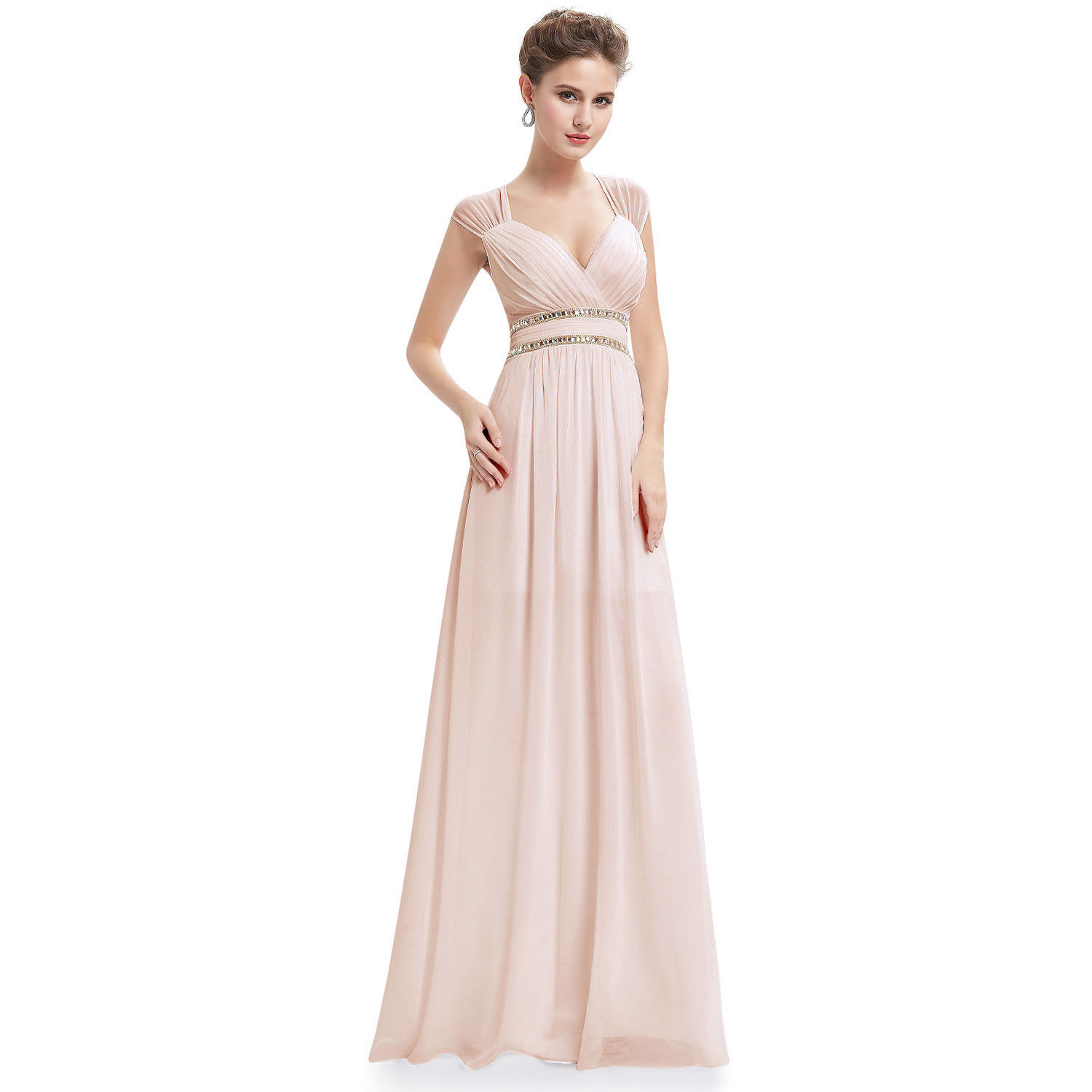70faa42f2d Ever-Pretty Long Chiffon Evening Formal Dress V-Neck Bead Bridesmaid Gown  08697