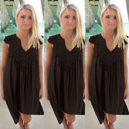 8077b6478bf8f US Plus Size Lady Boho Sleeveless Party Tops Women Loose Summer Beach Lace  Dress