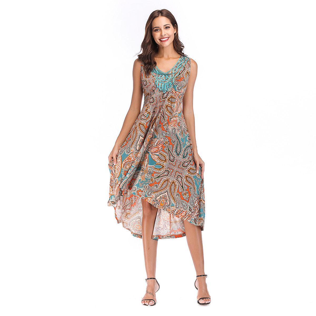 9f1ffa1b3850 Great Women Boho Floral Printed Long Maxi Dress Summer Beach Party Dress  Sundress 2018