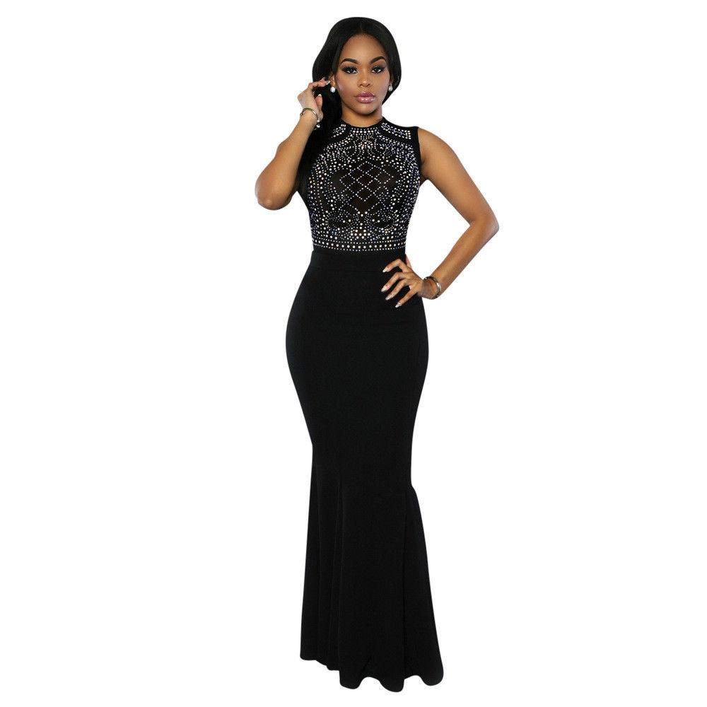 Fashion Dresses 2019: Cool Women Bodycon Sleeveless Long Dress Evening Formal