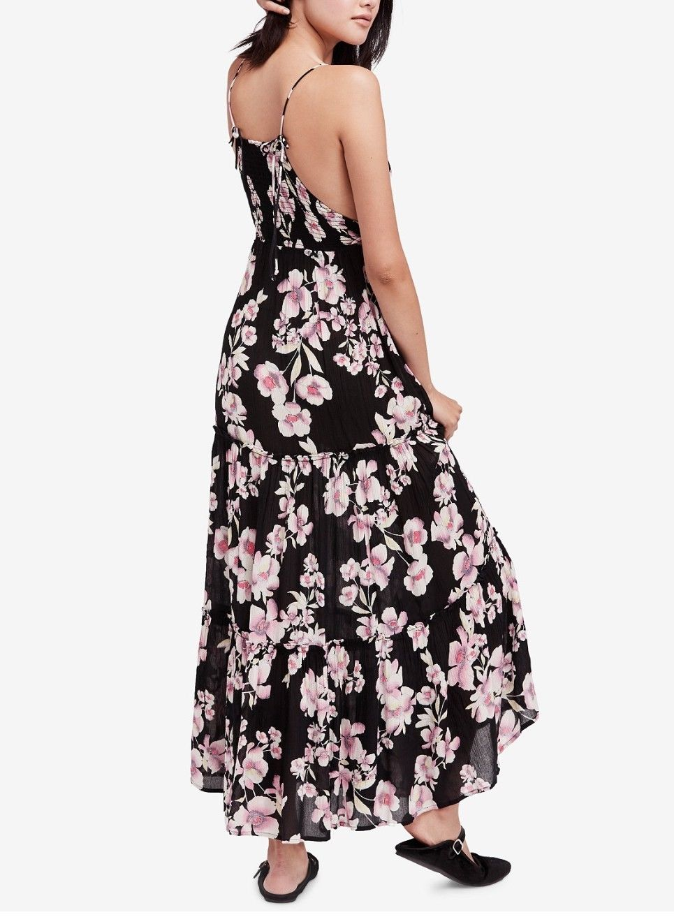 3218918dbbe Great FREE PEOPLE Garden Party BLACK Floral Print Maxi Dress Size S ...