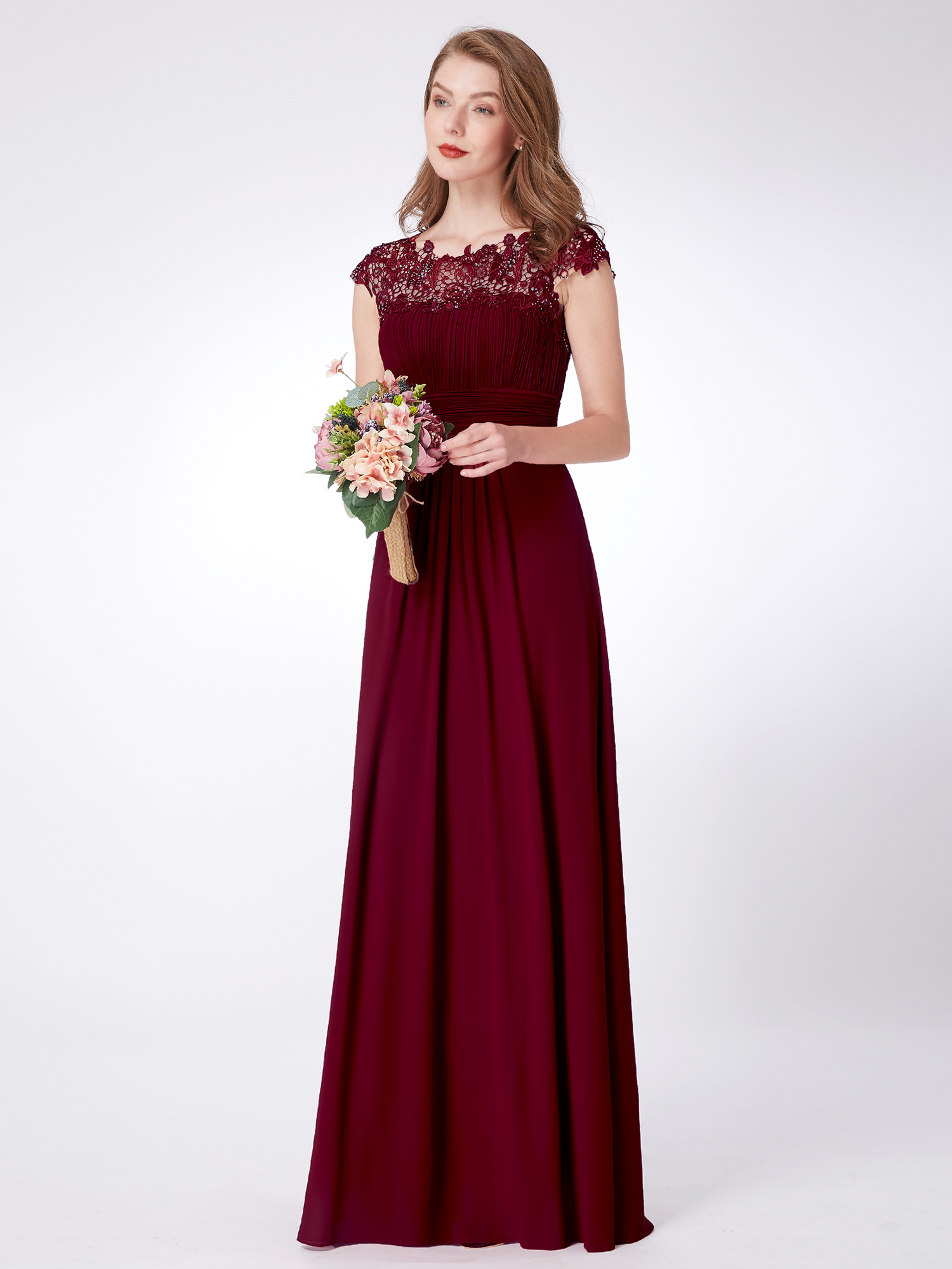 Great Ever Pretty Long Lace Burgundy Bridesmaid Formal Evening Gown Prom Dress 09993 2018 - B2B ...