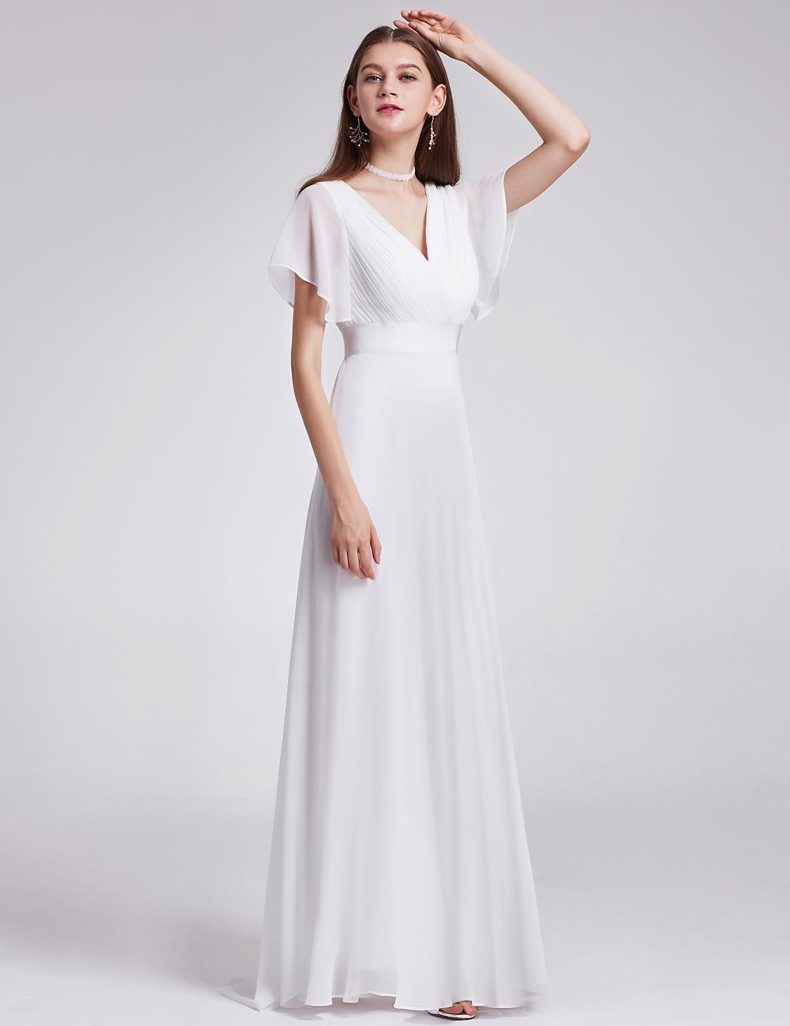 Cool Ever Pretty White Formal Evening Weddings Bridesmaid