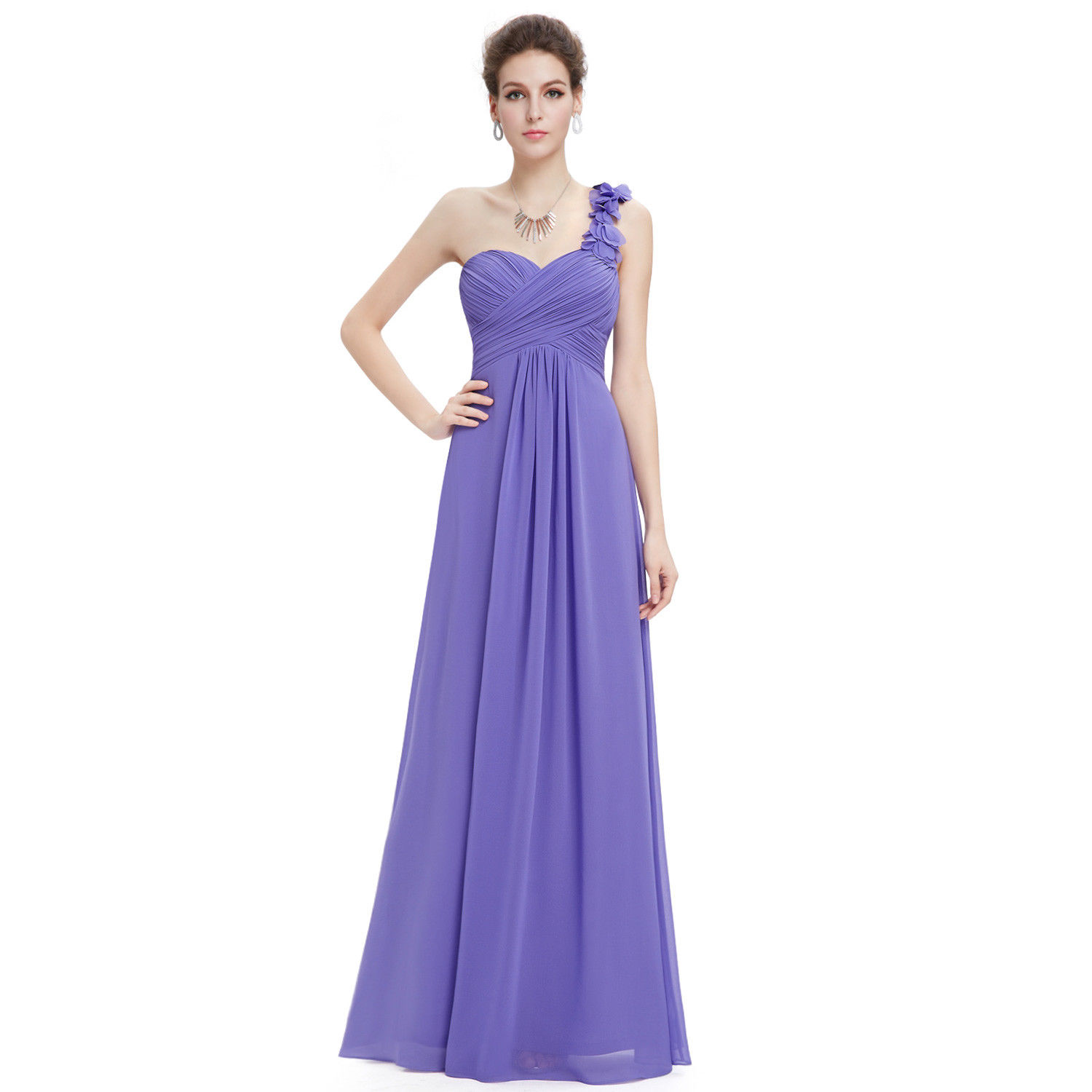 ff3e232f7d9 Ever-Pretty One-shoulder Chiffon Bridesmaid Dress Long Evening Prom  Periwinkle