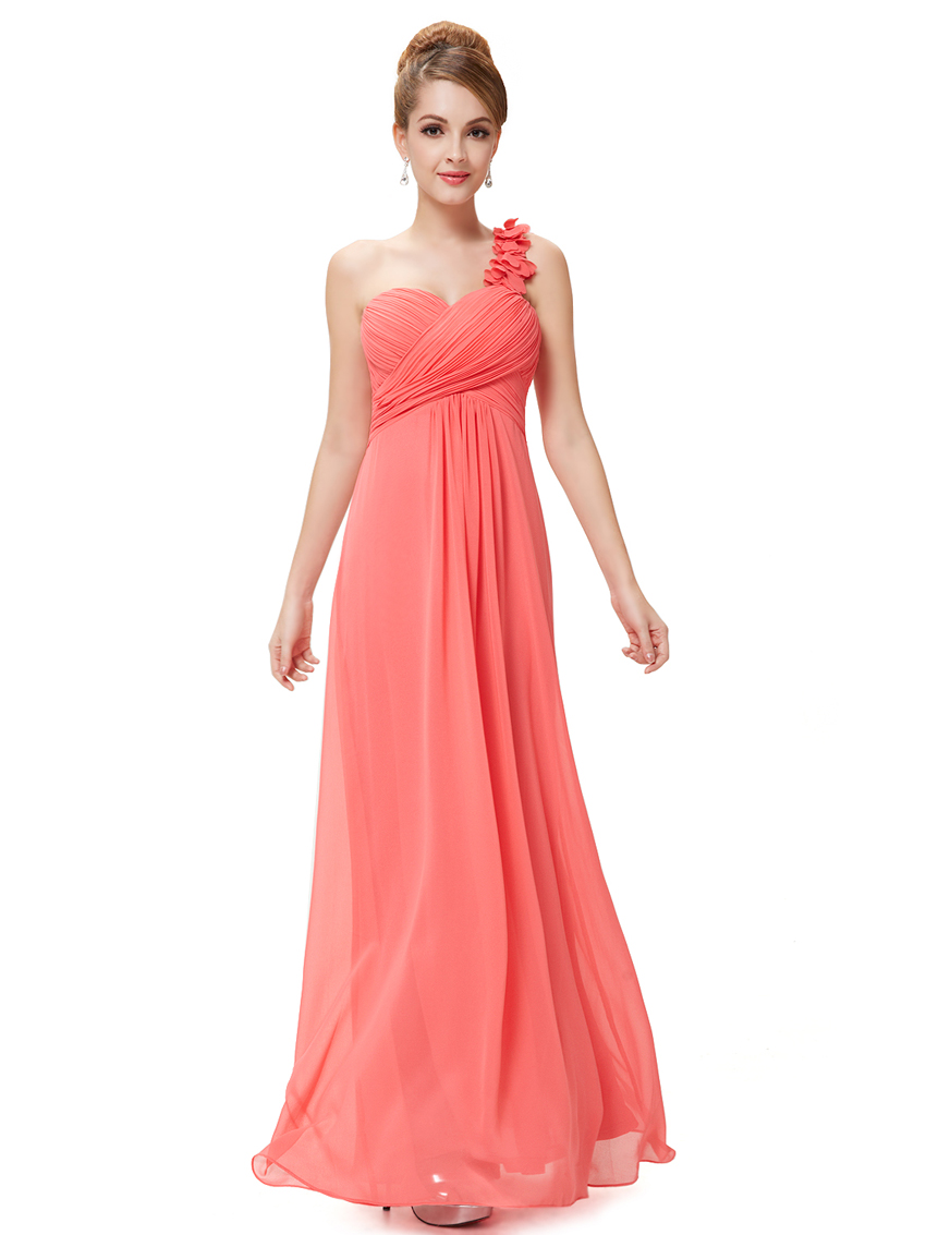 a6d957e18c62 Ever-Pretty One-shoulder Chiffon Bridesmaid Dress Long Evening Prom Gown  Coral