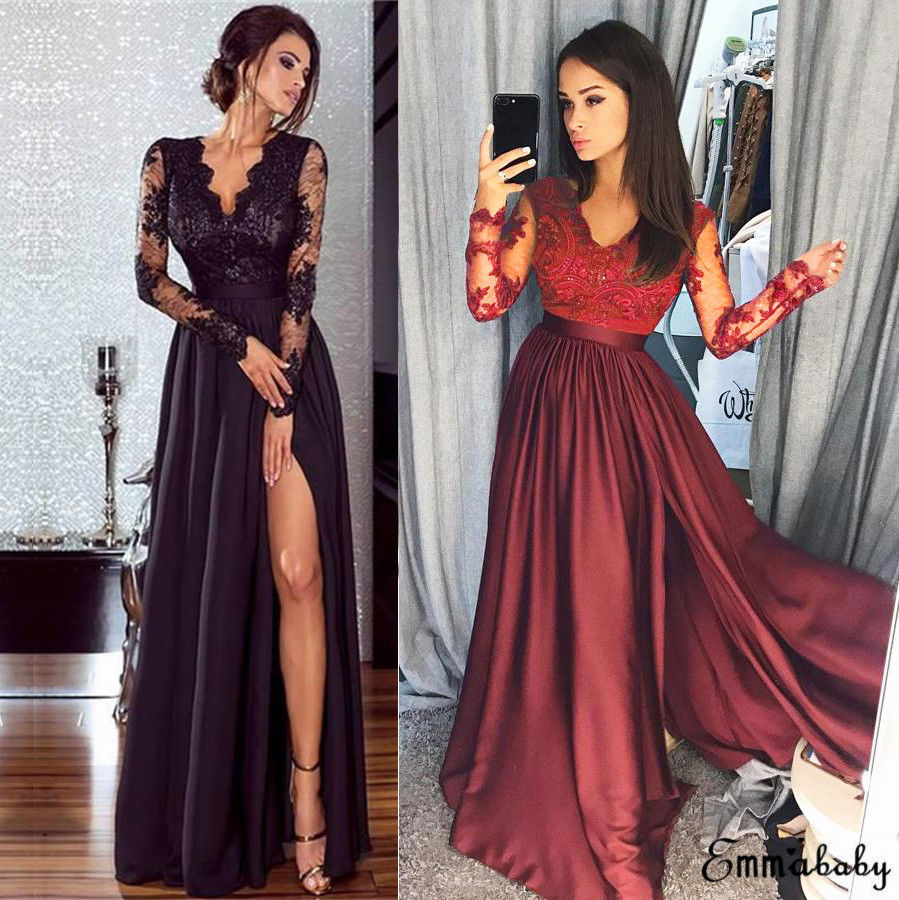 Cool USA Women Lace Evening Party Ball Prom Gown Formal