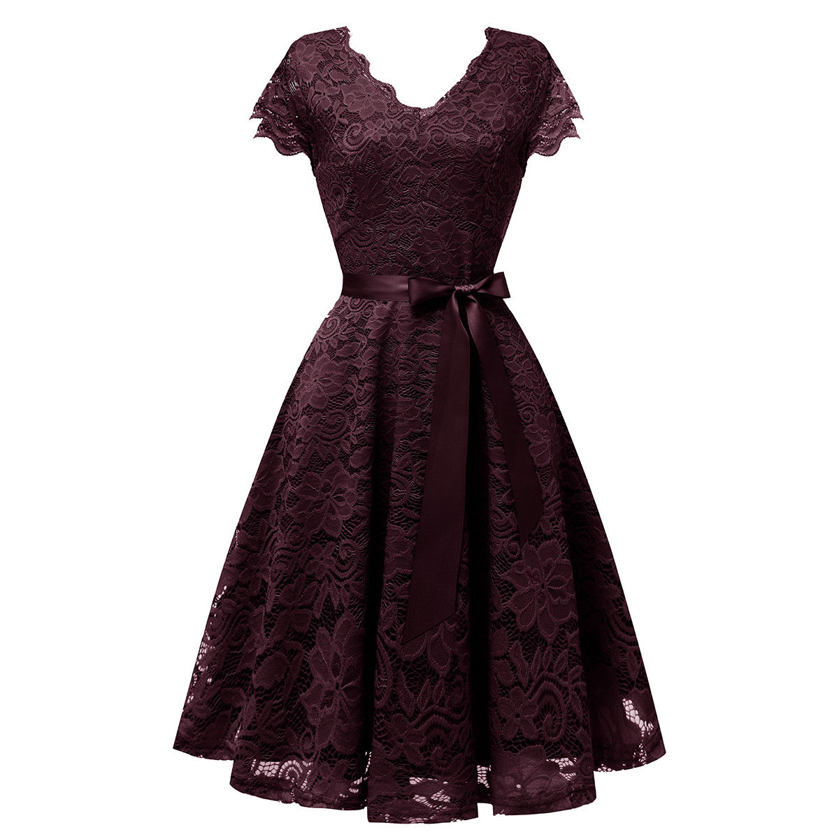 Amazing Women S Lace Bridesmaid Dress Fit And Flare Cap