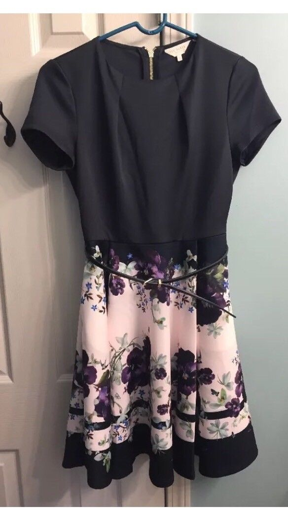 9c235f037712 Great Ted Baker Navy Floral Dress. Size 2 Uk (us Size 4-6). RESERVED 2018  2019
