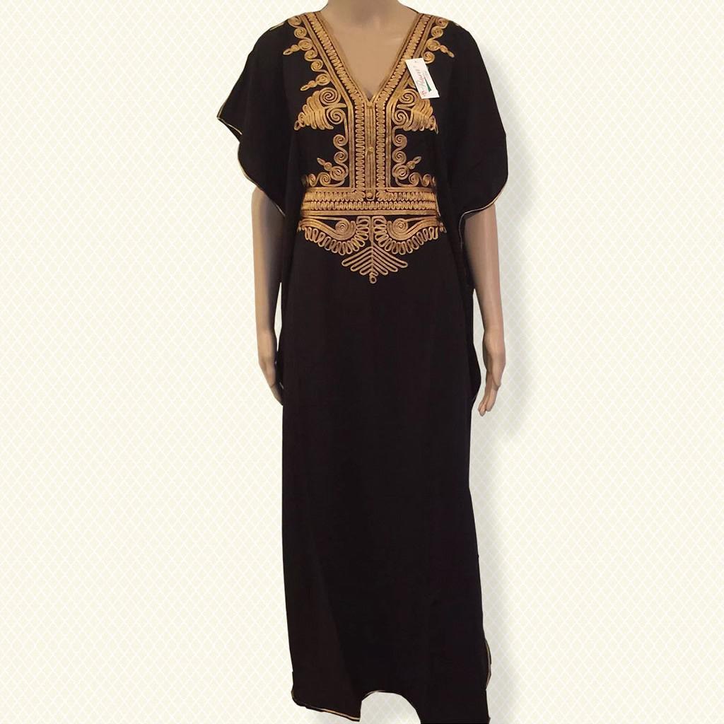 Cool Moroccan kaftan Embroidery Batwing Maxi Dress Dubai Sexy Arabian Abaya  one size 2019  111b8146528