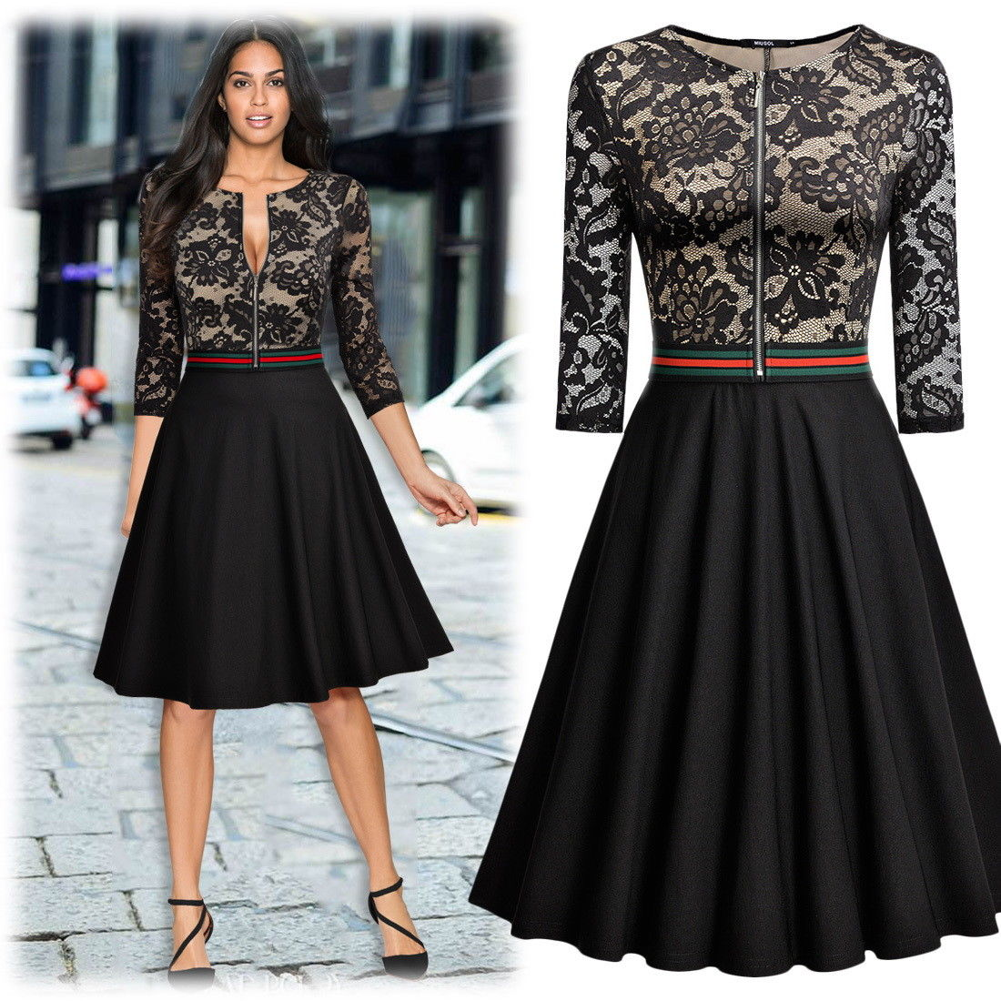 Girls Fashion Styles: Amazing Women's Retro Style Floral Lace Evening Party