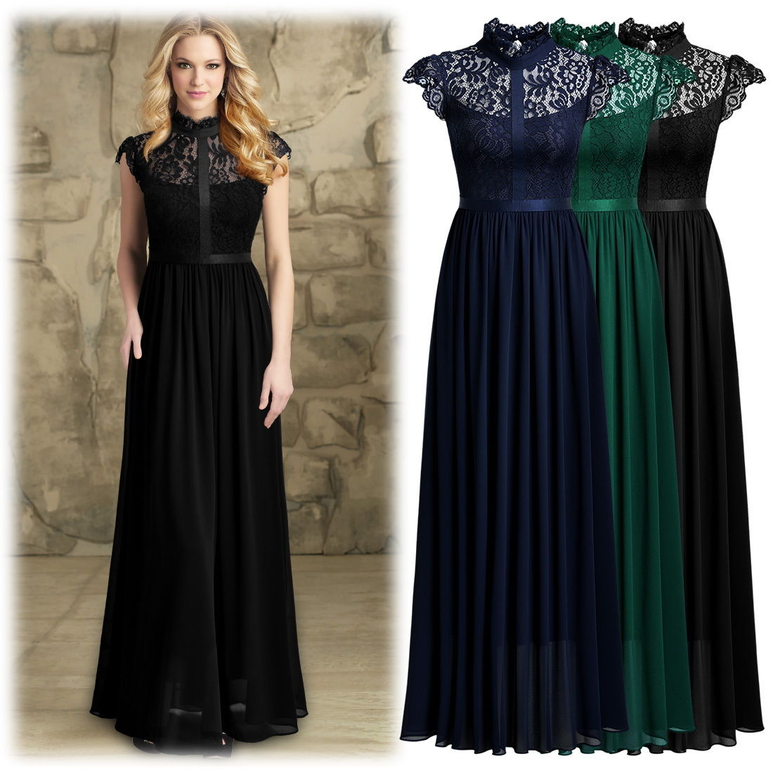 Great Women's Elegant Floral Lace Formal Evening Party ...