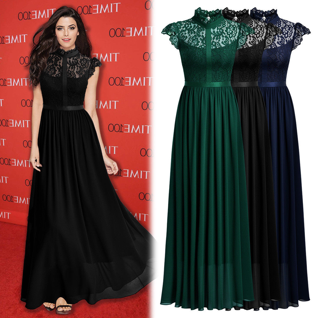 Long Evening Gowns For Wedding: Great Women's Elegant Floral Lace Formal Evening Party
