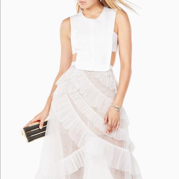 Cool $498 BCBG Max Azria Avalon Sheer Cutout Gown Wedding Prom White ...