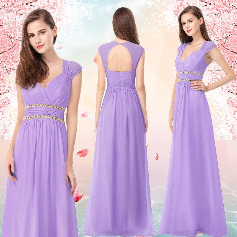 Great Ever-Pretty V-Neck Long Bridesmaid Dresses Formal Lavender ...