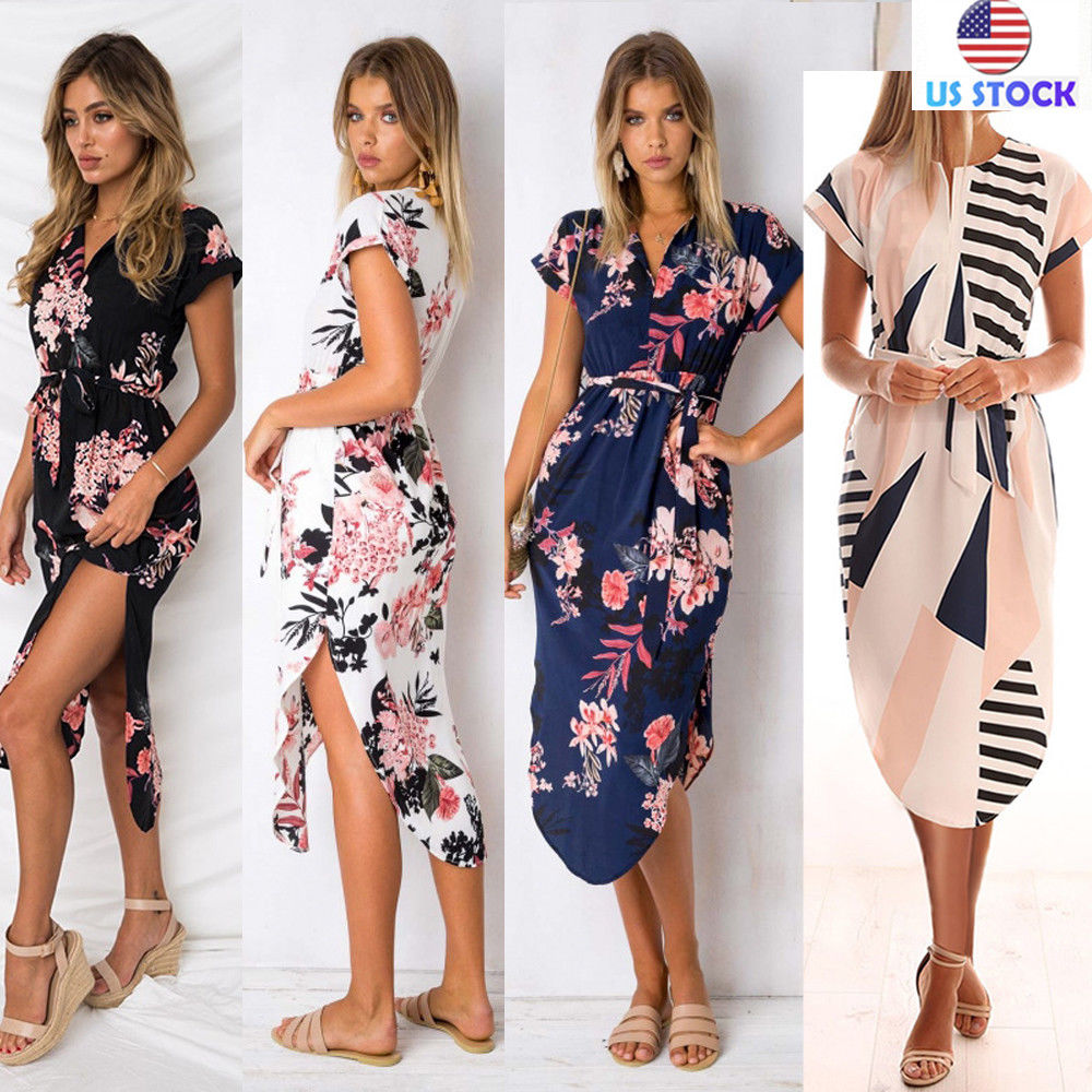 d3188a964356 Fashion Women V-neck Floral Print Midi Dress Party Summer Beach Sundress  XS-3XL