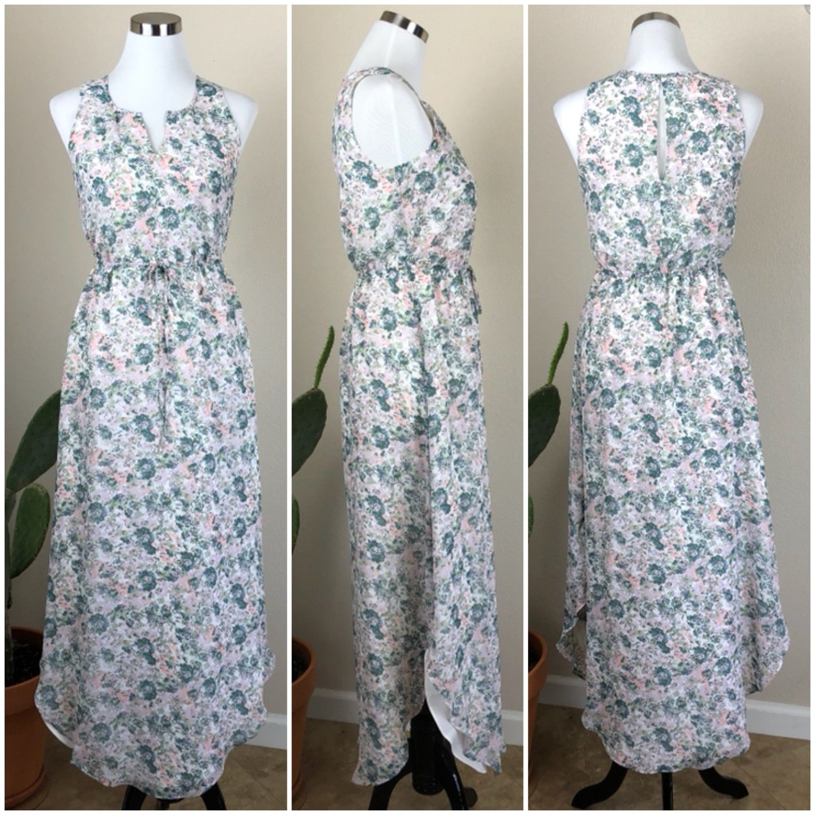 e3778bfe9f9 LC LAUREN CONRAD Womens 2 Small Pastel Floral Blythe Maxi Sleeveless Party  Dress