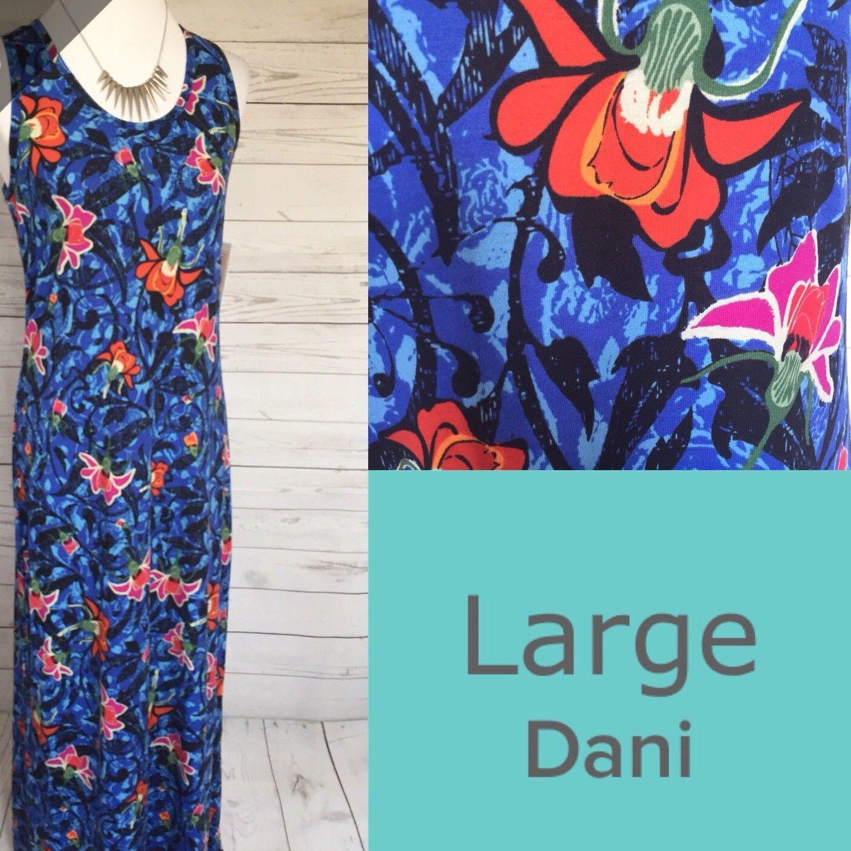 d37a9992327 Great LULAROE DANI DRESS L Large FLORAL BLUE TANK MAXI 2018 2018 ...