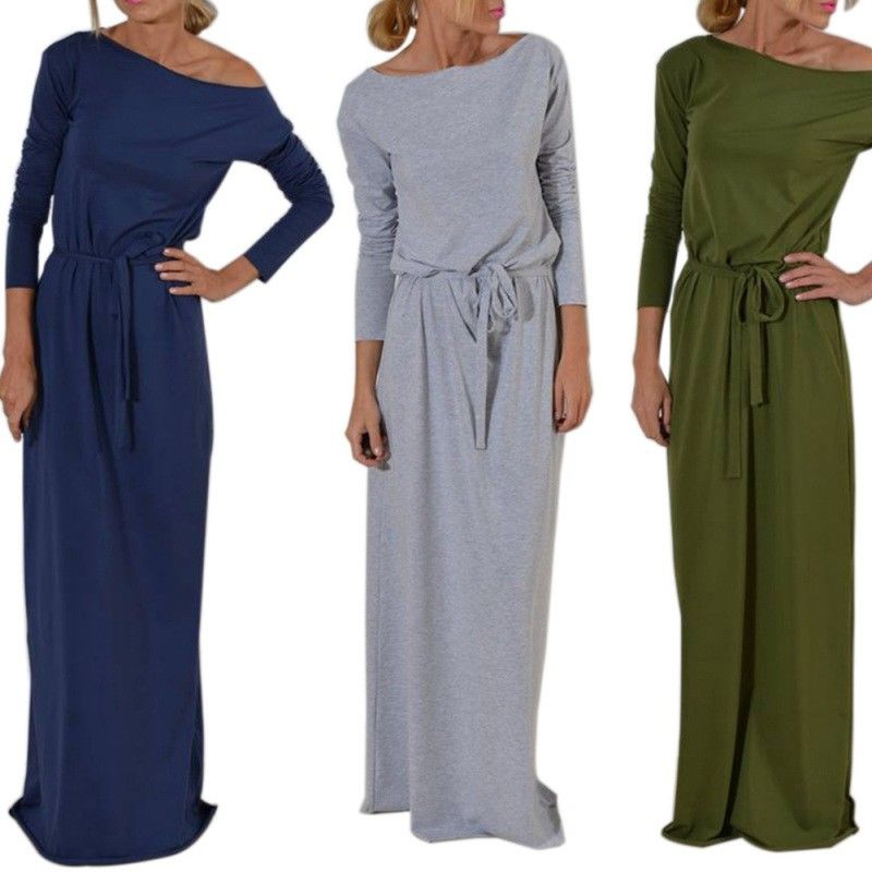 a927a03cdcdd1 Ladies Casual Long Sleeve Dress Women Solid Color Party Cocktail Prom Maxi  Dress