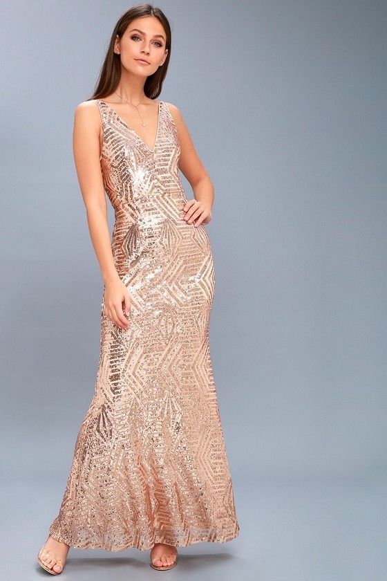 awesome lulus canterbury rose gold sequin maxi bridesmaid