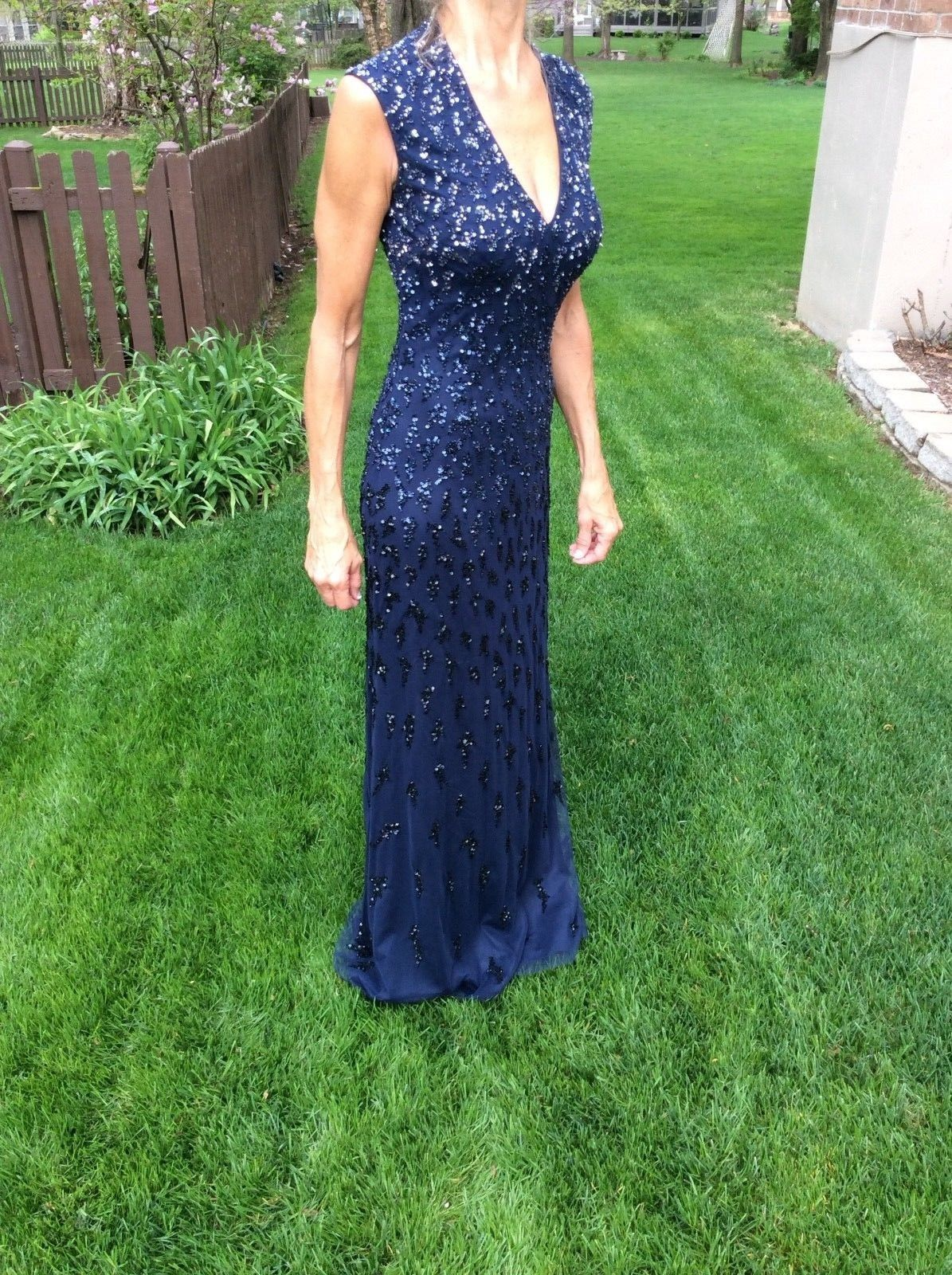 Awesome NWT Aidan Mattox Blue Beaded Sequins Sleeveless Evening Gown ...