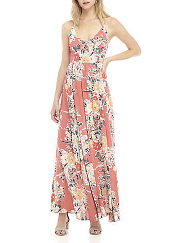 f4e4691fa53 NWT Free People Through The Vine Floral Print Maxi Dress Size Red Combo S   108