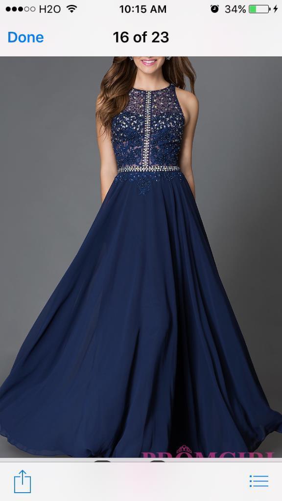 78c0ba3e586c NWT Gorgeous Navy Blue A-line Brides Maid / Prom Dress Beaded Bodice Size  10 Lg