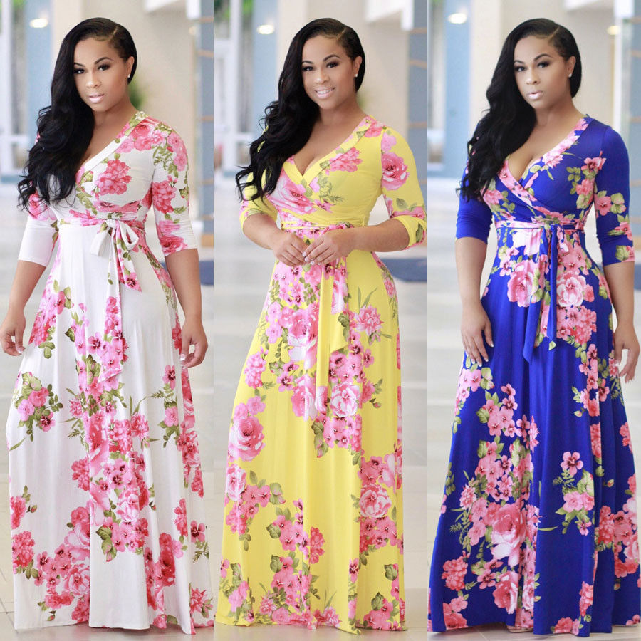 b71137b47c92 New Women BOHO Long Evening Party Cocktail Prom Floral Summer Beach Maxi  Dress