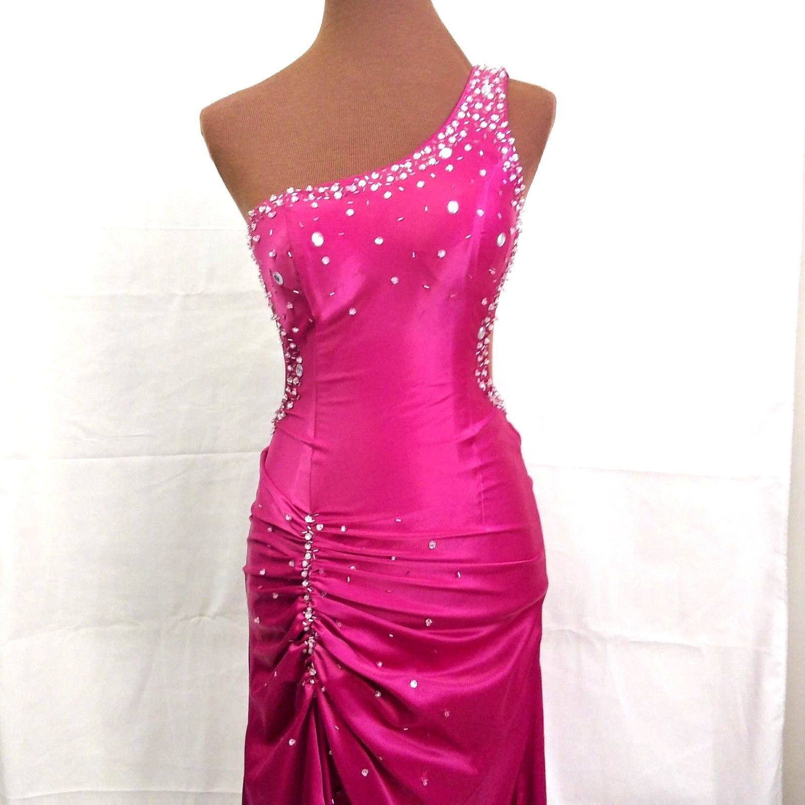 Amazing Pink Prom Dress Beaded Sequin Long Evening Gown One Shoulder ...