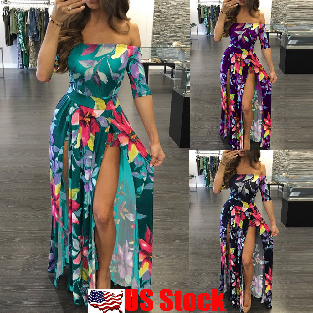 86ac00b214 Plus Size Women's Floral Long Maxi Dress Split Cocktail Party Beach Sundress  USA