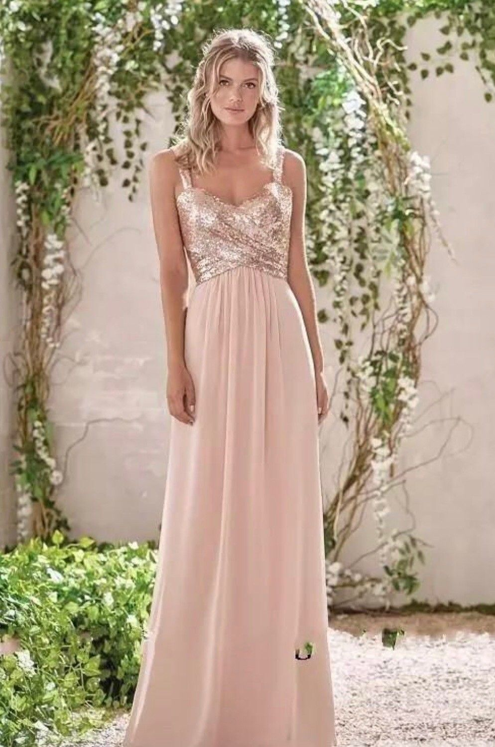 Rose Gold Bridesmaid Dresses A Line Spaghetti Backless Sequins Chiffon New Size