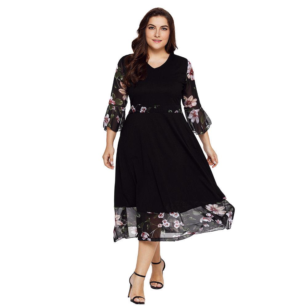 Amazing Summer Women Floral Maxi Dress A Line Long Sleeve Bodycon