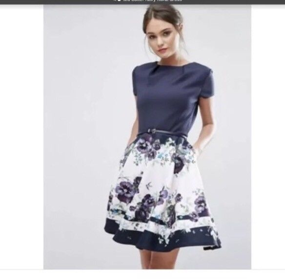 cfaa1f8a9027 Great Ted Baker Navy Floral Dress. Size 2 Uk (us Size 4-6). RESERVED ...