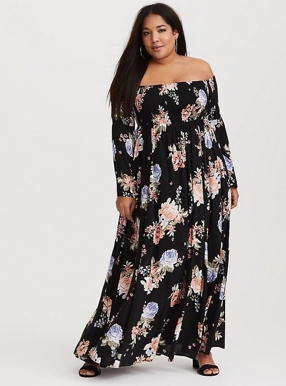 Awesome Torrid Floral Maxi Dress Off Shoulder Flowers Size 2 Plus ...
