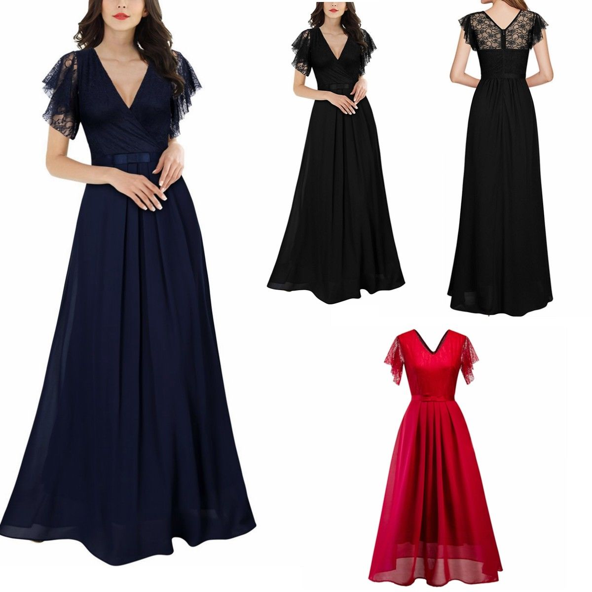 60576b29ec74 US Ladies Long Chiffon Lace Evening Formal Party Ball Gown Prom Bridesmaid  Dress